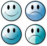 Un conjunto de botones sonrientes felices e infelices de la cara, o Stock de ilustración