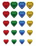 Un conjunto de corazones coloridos ilustración del vector