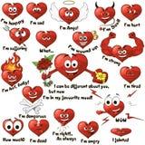 Un conjunto de corazones de la historieta Fotos de archivo