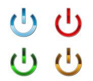 Un conjunto de cuatro botones de la potencia