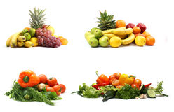 Un conjunto de cuatro montones de frutas y verdura Fotografía de archivo