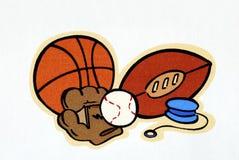 Un conjunto de diversas bolas del deporte Foto de archivo