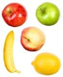 Un conjunto de frutas en blanco Imágenes de archivo libres de regalías