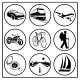 Un conjunto de iconos del recorrido Fotografía de archivo libre de regalías
