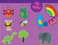 Un conjunto de las ilustraciones para los cabritos stock de ilustración