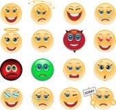 Un conjunto de los emoticons, iconos, emoción Foto de archivo libre de regalías