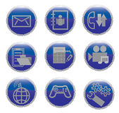 Un conjunto de los iconos para la comunicación móvil Fotos de archivo