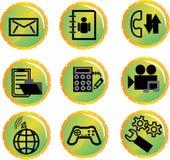 Un conjunto de los iconos para la comunicación móvil Foto de archivo libre de regalías