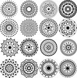 Un conjunto de mandalas y de círculos hermosos del cordón Foto de archivo libre de regalías