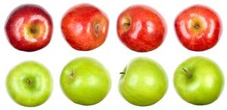 Un conjunto de manzanas en blanco Imagen de archivo libre de regalías