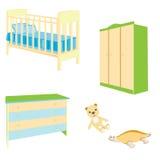Un conjunto de muebles del bebé stock de ilustración