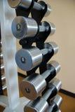 Un conjunto de pesas de gimnasia de diverso peso foto de archivo libre de regalías