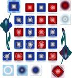 Un conjunto de sobres y de botones Foto de archivo