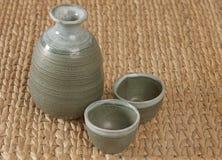 Un conjunto de té verde de la cerámica Fotografía de archivo libre de regalías