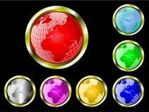 Un conjunto de Web del globo de la tierra siete abotona stock de ilustración