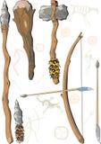 Un conjunto del hombre prehistórico del arma Imagen de archivo