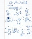 Un conjunto divertido de los doodles extranjeros Imagenes de archivo
