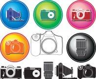 Un conjunto ilustrado vector de diverso photocamera Foto de archivo libre de regalías