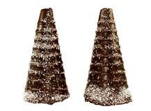 Un cono di due cioccolato nella forma alberi nevosi Fotografia Stock Libera da Diritti