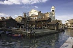 Un constructeur de gondoles à Venise image libre de droits