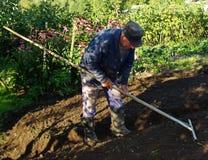 Un contadino russo anziano che lavora nell'orto del cortile Immagine Stock Libera da Diritti