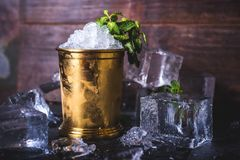 Un contenitore con ghiaccio sta fra i cubetti di ghiaccio e la menta immagine stock libera da diritti