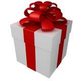 Un contenitore di regalo bianco con il nastro e l'arco rossi Fotografia Stock Libera da Diritti