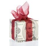 Un contenitore di regalo dei soldi di 5 dollari Immagine Stock Libera da Diritti