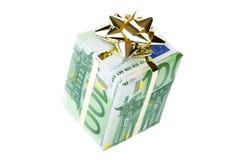 Un contenitore di regalo dell'euro 100 Immagine Stock