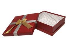 Un contenitore di regalo rosso aperto Fotografia Stock Libera da Diritti