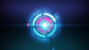 un conto alla rovescia di 5 secondi nella filatura della progettazione futuristica di tecnologia dei cerchi della luce illustrazione vettoriale