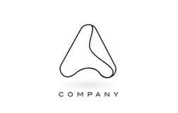 Un contorno del profilo di Logo With Thin Black Monogram della lettera del monogramma Immagine Stock Libera da Diritti