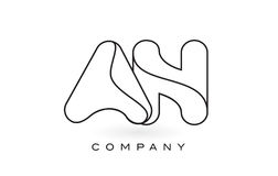 Un contorno del profilo di Logo With Thin Black Monogram della lettera del monogramma Fotografie Stock Libere da Diritti