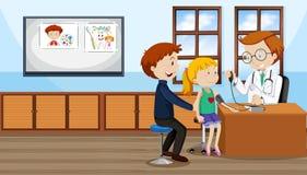 Un contrôle de fille avec le docteur illustration libre de droits