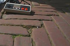 Un contrôleur de Nintendo s'étendant sur trouvé illustration de vecteur