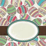 Un contrassegno sopra priorità bassa delle uova di Pasqua di colore Immagini Stock Libere da Diritti