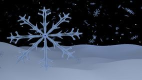 Un copo de nieve transparente azul y muchos otros en el fondo libre illustration