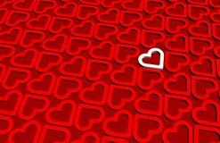 Un corazón blanco 3D dentro del modelo rojo de los corazones 3D stock de ilustración