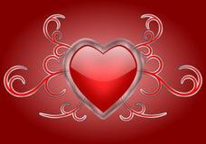 Un corazón brillante con remolinos góticos Fotografía de archivo libre de regalías