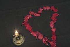 Un corazón de pétalos color de rosa Fotos de archivo