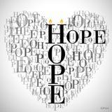 Un corazón hecho de las palabras ESPERANZA Imagen de archivo libre de regalías