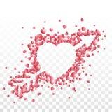 Un corazón perforado con una flecha integrada por pequeño rojo sombreó corazones en fondo transparente stock de ilustración