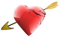 Un corazón quebrado agradable con una flecha en fondo blanco aislado Fotos de archivo libres de regalías