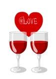 Un corazón y dos vidrios de vino Fotografía de archivo