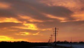 Un coucher du soleil électrique image stock