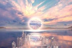 Un coucher du soleil coloré de l'au-delà dans un lac Photos stock