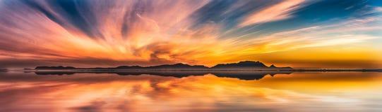Un coucher du soleil d'hiver de 100 ans à l'avenir (18 juin 2116) Image libre de droits