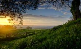 Un coucher du soleil de Cotswold photographie stock libre de droits