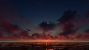 Un coucher du soleil rouge foncé dans l'océan Photos stock