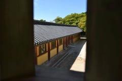 Un coup d'oeil rapide dans le temple de Bulguksa La PIC a été rentrée le 2 août Photo stock